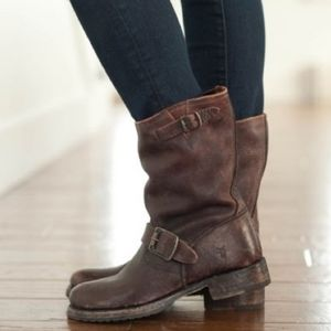 Frye Veronica Short Brown Moto Boot